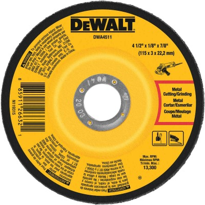 DeWalt HP Type 27 4-1/2 In. x 1/8 In. x 7/8 In. Metal/Stainless Grinding Cut-Off Wheel