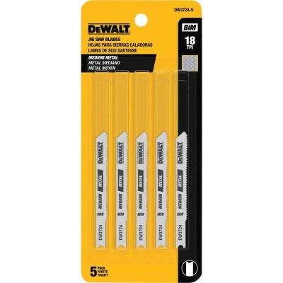DeWalt U-Shank 3 In. x 18 TPI High Carbon Steel Jig Saw Blade, Medium Metal (5-Pack)