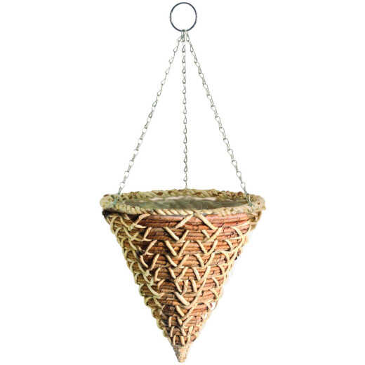 Gardman 14 In. Banana Braid Fiber Woven Hanging Plant Basket Cone