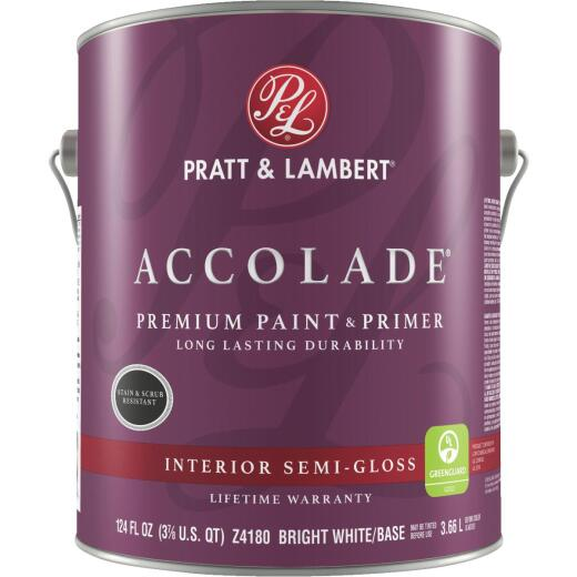 Pratt & Lambert Accolade Premium 100% Acrylic Paint & Primer Semi-Gloss Interior Wall Paint, Bright White Base, 1 Gal.