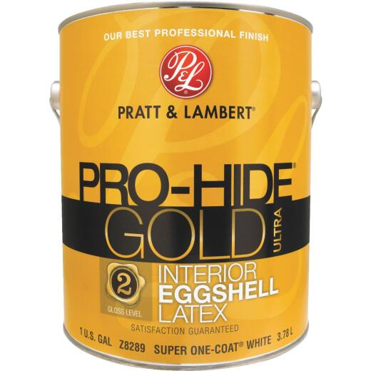 Pratt & Lambert Pro-Hide Gold Ultra Latex Eggshell Interior Wall Paint, Super-One Coat White, 1 Gal.