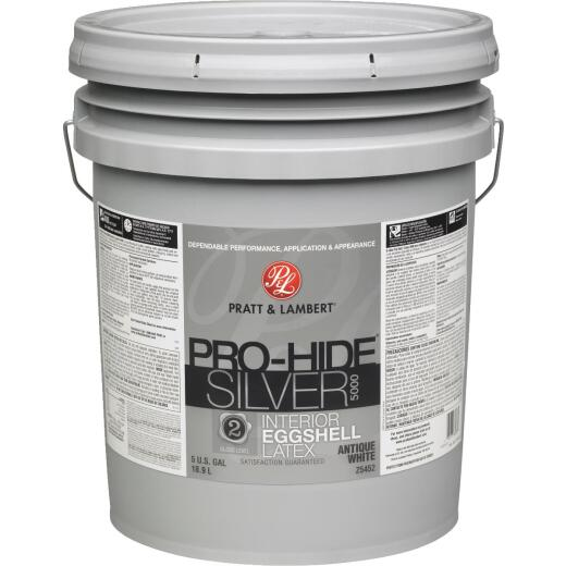 Pratt & Lambert Pro-Hide Silver 5000 Latex Eggshell Interior Wall Paint, Antique White, 5 Gal.