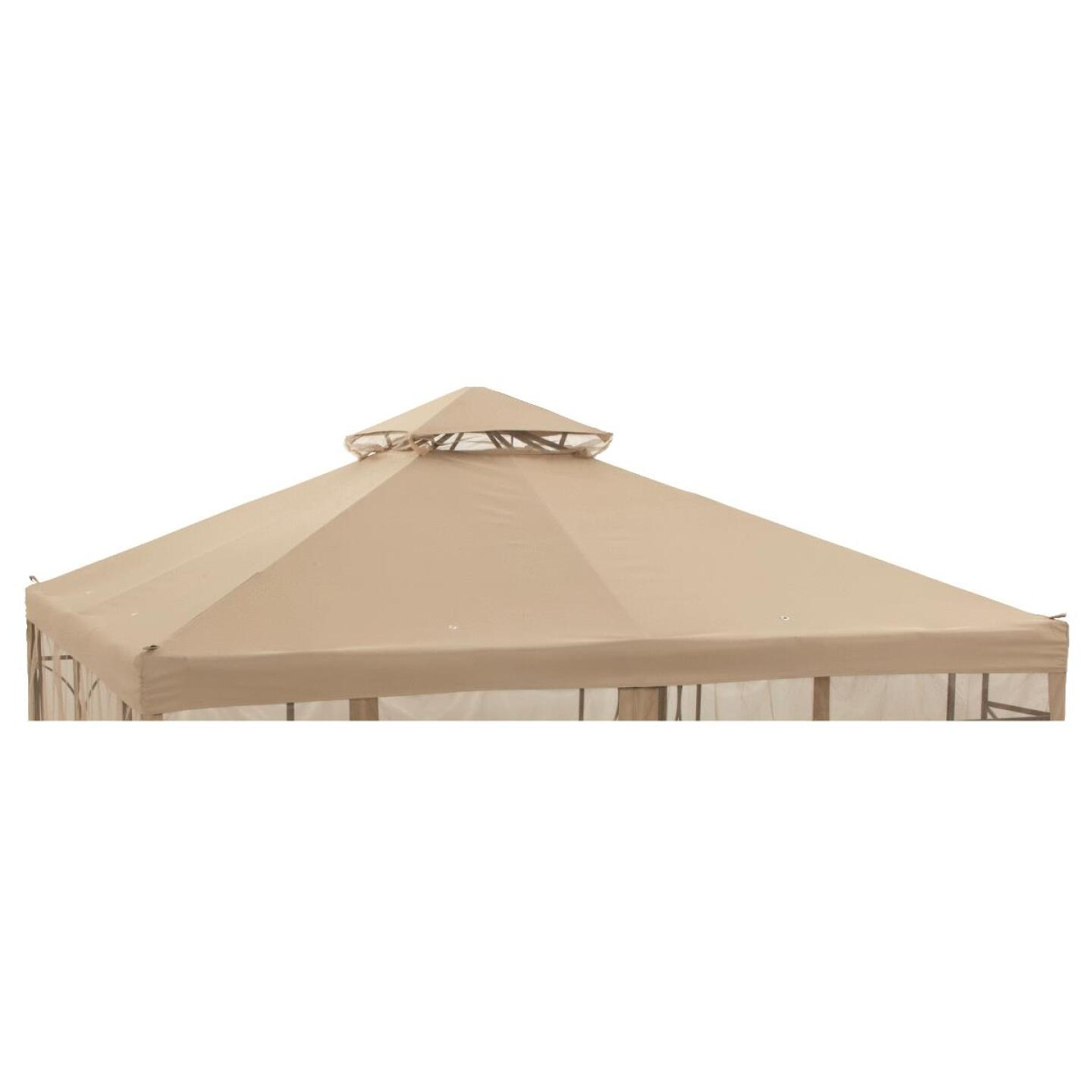 Outdoor Expressions 10 Ft. x 10 Ft. Tan Polyester Replacement Gazebo Canopy Image 1